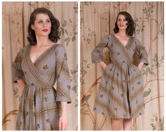 1950s Dress - The Chanterelle Dress - Vintage 50s Day Dress in Woven Wool by Anne Fogarty with Autumn Grey and Mustard Palette
