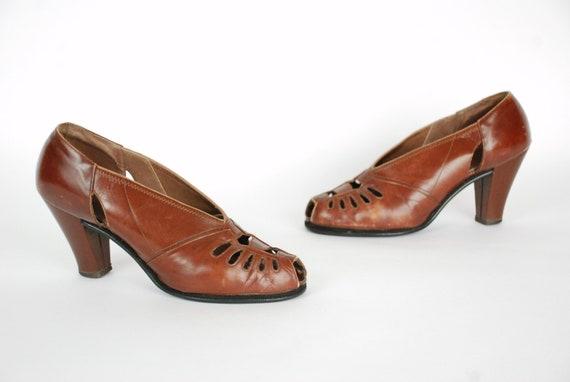 En Chaussures Brun Chaud Des Cuir Années Etsy Vintage Pompes 1930 qfBfFX6x