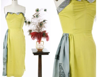 Vintage 1950s Dress - Winter 2017 Lookbook -  The Orb Weaver Dress - Brilliant Emerald Green Strapless Cotton 50s Peplum Cocktail Dress