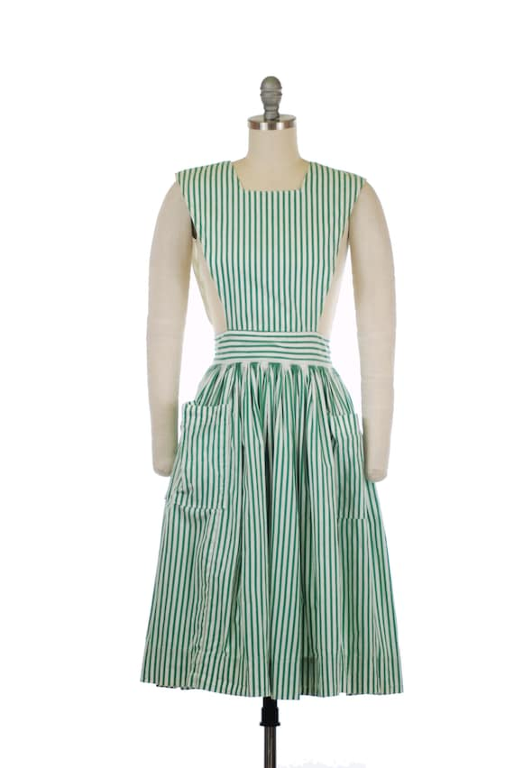 1950s Pinafore - Adorable  Early 50s Green and Whi