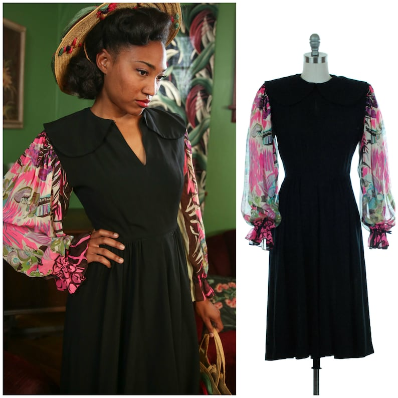 Vintage 1940s Dress  Gorgeous 40s Day Dress in Black with image 0