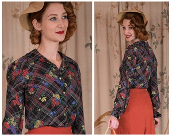 1940s Blouse - The Picnic Blouse - Vintage 40s Semi-Sheer Rayon Blouse with Plaid and Floral Print on the Bias