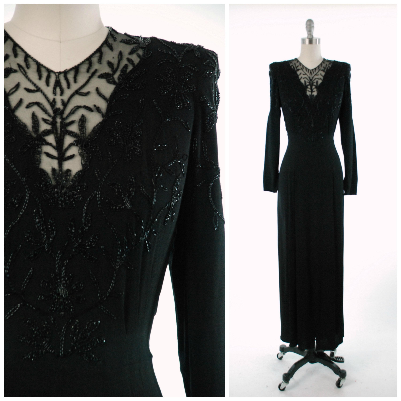 Vintage 1940s Dress Elegant Black Rayon Crepe 40s Evening ...