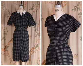 1950s Dress Set - The Geometry Dress - Crisp Vintage 50s Cotton Dress with Bolero in Black and White Volup Plus Size XL