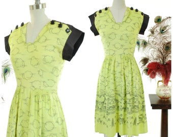 Vintage 1930s Dress - Rare Chartreuse Late 30s/Early 40s Darling Novelty Print Trudy Halls Juniors Dress with Walled Chinese City