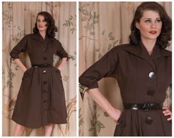 1950s Dress - The Checkers Dress - Sharp Vintage 50s Tailored Day Dress in Chocolate Brown with Huge Buttons, Real Pockets and Plaid Accents