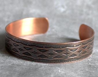 Lattice Cuff - Copper Cuff Bracelet, Etched Copper, Oxidized Patina, Web Design, Lace Netting, Metalwork Jewelry