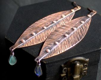 Copper Leaf Gemstone Earrings - Labradorite Gemstone, Stone Teardrops, Antiqued Copper, Textured Copper, Long Dangles, Riveted Metalwork