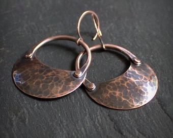 Relic Earrings - Forged Copper Crescent, Textured Copper, Oxidized Copper Patina, Hammered Metal, Metalwork Jewellery
