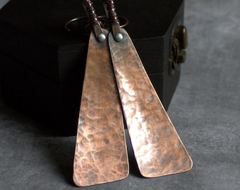 Thurid Earrings - Forged Copper, Long Triangular Teardrop, Oxidized Patina, Textured Copper, Wire-Wrap, Hammered Metal, Metalwork Jewellery