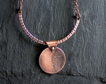 Full Moon Pendant Necklace - Etched Copper, Oxidized Patina, Astronomy Science Lunar Jewelry, Mens Womens Unisex