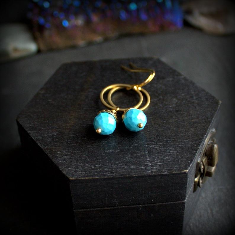 Swing Dangle Gold Brass Hoop Turquoise Hoop Earrings Ornate Beadcap Boho Jewellery Howlite Stone Drop Earrings