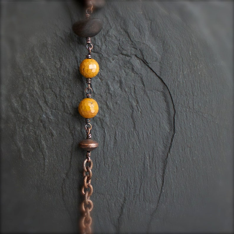 Boho Jewelry Textured Metalwork 3 Copper Chain Dark Rustic Patina Copper Stone Bracelet Brown Mustard Yellow Indian Agate No
