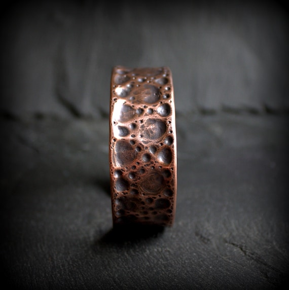 Hammered Copper Regmaglypt Meteorite Cuff Bracelet Dark Oxidized Patina Mens Womens Unisex Metalwork Jewelry Moon Crater Space