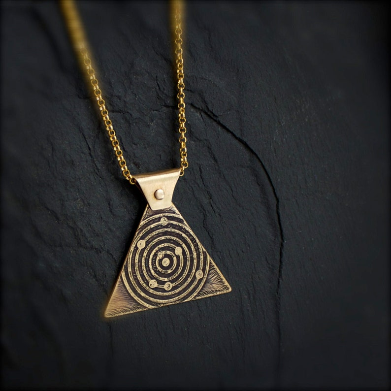 Heliocentric Model Necklace  Etched Gold Brass Triangle image 0