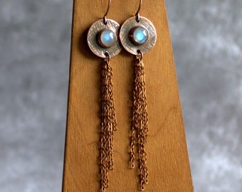 Rainbow Moonstone Fringe Earrings - Oxidized Copper, Long Shoulder Dusters, Chain Dangle, Crosshatch Texture, Rustic Gemstone Jewellery