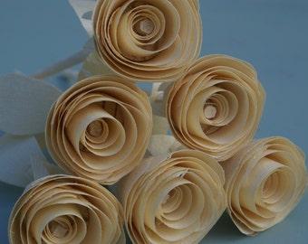 Wooden roses for anniversary,  6 wood roses,  gift for her