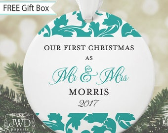 Our First Christmas Ornament Mr and Mrs Wedding Ornament Personalized Wedding Gift - Valencia Pattern - You Choose Color  - Item# OR1711