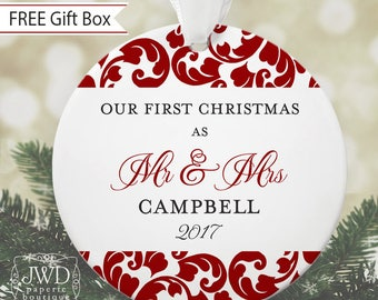 Our First Christmas Mr and Mrs Wedding Ornament Personalized Wedding Gift for Couple - Kirkland Pattern - Item#OR1710