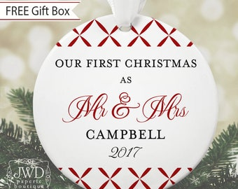 Personalized Wedding Ornament Mr and Mrs Ornament Our First Christmas Personalized Wedding Gift  - Trellis Pattern - Item#OR1709
