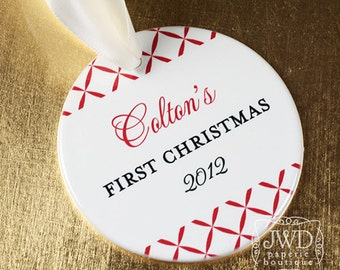 Personalized Baby's First Christmas Ornament Baby Keepsake Newborn Keepsake Ornament - Trellis Pattern - Item# TRE-B1-O