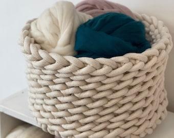 Large crocheted rope basket - storage basket - modern basket - basket with handles - nautical decor - toy basket - toy bin