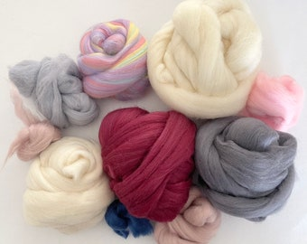 Wool roving bundle for weaving, needle felting, dryer balls - mix of colors