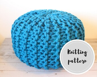 Wool rope pouf PDF pattern - knit pouf with crochet cord, felting and stuffing instructions
