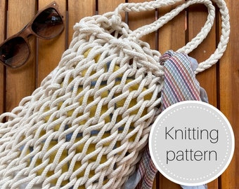 Knit market tote bag pattern - instant download - tote bag - market bag - summer bag - beach bag