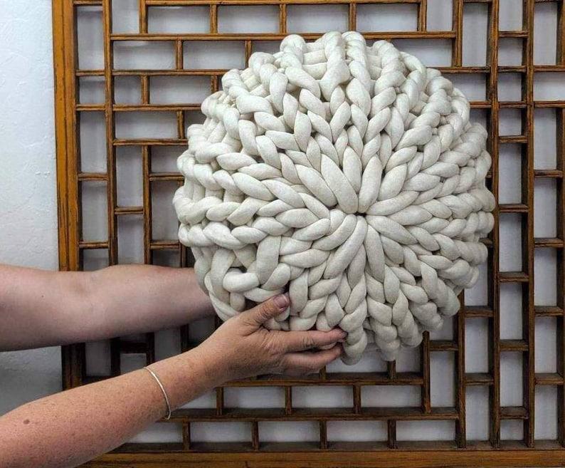 Chunky knit pouf pattern tube yarn pouf ottoman knit   Etsy