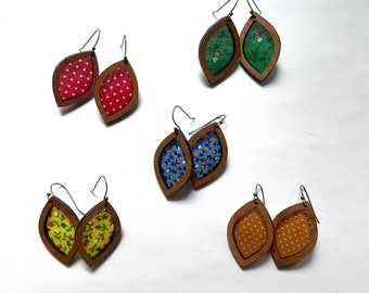 Vintage fabric earrings - antique bronze finish - vintage fabric remnants on cherry wood