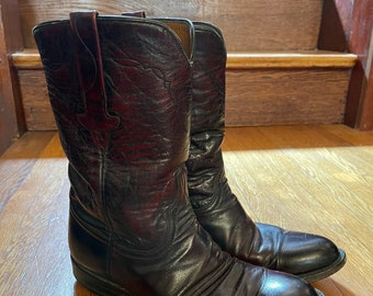 Vintage Lucchese roper boots size 8 - western cowboy boots black cherry leather