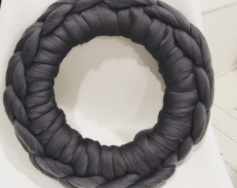 Small cozy wool wreath - 14 inch chunky knit wreath - crocheted wreath - giant knit wreath - holiday wreath - front door wreath