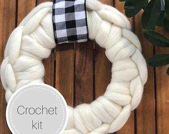 Wool wreath crochet kit - 14 or 18 inch chunky knit wreath - crocheted wreath - giant knit wreath - holiday wreath - front door wreath
