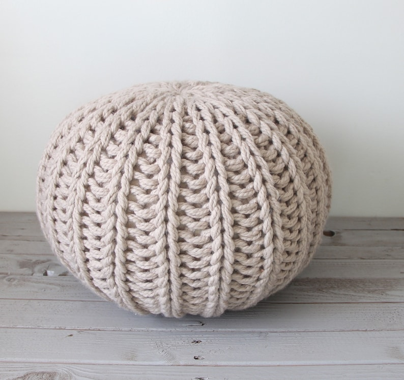 Chunky knit pouf pattern instant download with stuffing   Etsy