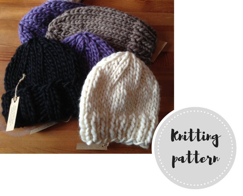4d0374265b5 1-hour wool knit hats PDF pattern beanie slouch and roll