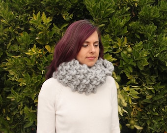 Giant knit double loop cowl