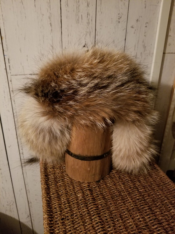 Mongolian Russian Norse viking trapper coyote fur hat  f826758fc
