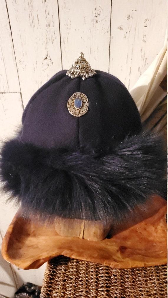 Russian mink fur Viking fur hat navy blue suede Norse Amazing Mongolian