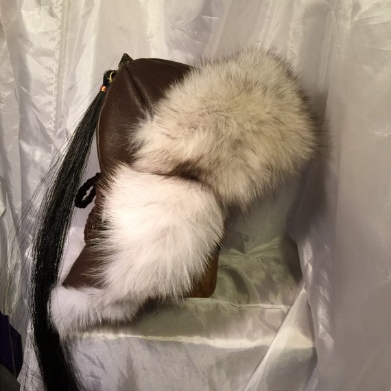 Mongolian Russian Norse fur hat with ear flaps   fur down  5f878947bac