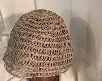 Viking, Norse, Anglo Saxon, Nalbinding hat, Hand spun flax (linen) natural colour