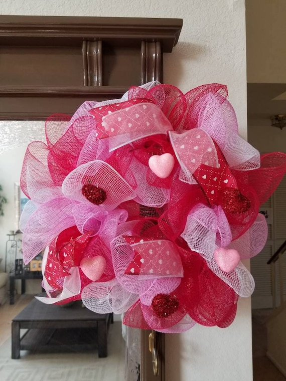 Valentine S Day Mesh Wreath By Ajz Delightful Events Catch My Party
