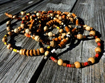 Womens Mens Long Large Red Bead Beaded Elasticated Wood Necklace Tribal Festival