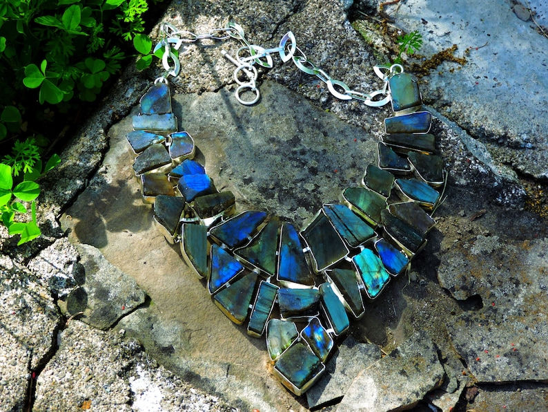 Ceremonial Necklace Of The Ancient Aztecs Raw Cut Labradorite Gemstone Multi Strand Jewelry Amazon Goddess of Frozen Fire and Magic