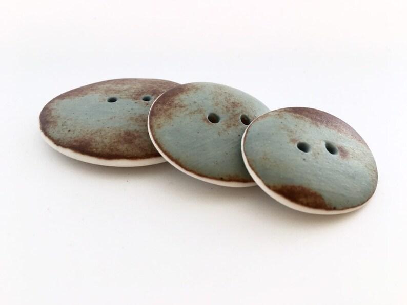 3 Big Rusty Duck-Egg Blue Buttons porcelain buttons