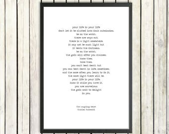 Charles Bukowski Printable Poem 'The Laughing Heart' Instant Download Literature Poster Inspirational Poem Digital Print Words of Wisdom