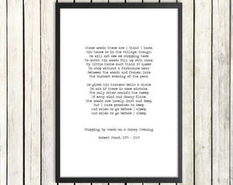 Robert Frost Instant Printable Poem 'Promises to Keep' Digital Poetry Download 'Miles To Go' Quote Vintage Typography Poster Promises Poem