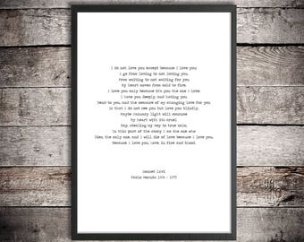 Pablo Neruda Printable Poem 'Because I Love You' Instant Download Sonnet lxvi Romantic Poetry Digital Poster Lovers Gift Wedding Print