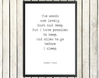 Robert Frost Printable Poem Quote 'Miles To Go Before I Sleep' Instant Poetry Download Vintage Typewriter Poster Promises To Keep Poem Print