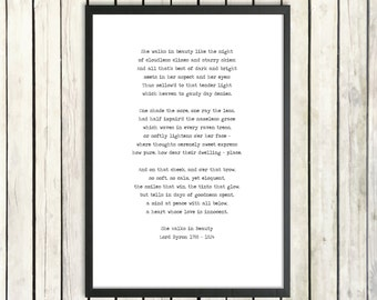 Lord Byron Poetry Poster 'She Walks in Beauty' Instant Download Printable Poem Romantic Literature Love Poem Instant Print Poetry Gift
